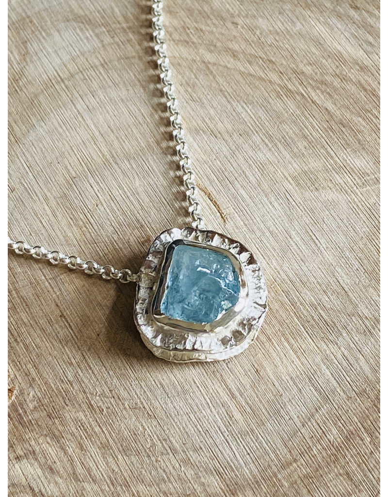 Rough Aquamarine Double Sterling Necklace