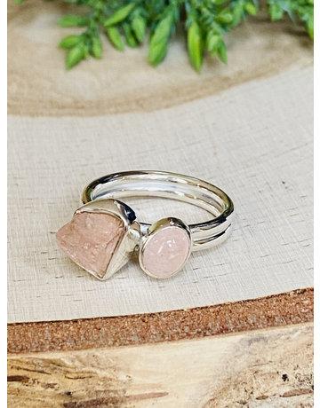 Morganite Double Stone Ring - Size 7