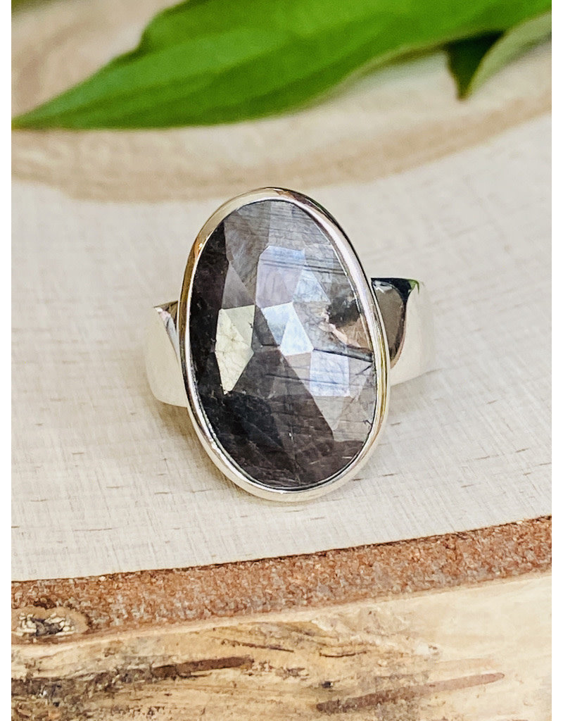 Faceted Black Moonstone Ring - Size 8