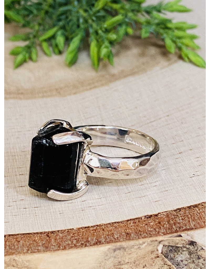 Black Tourmaline Crystal Ring - Size 8