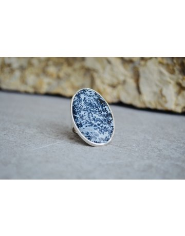 Large Oval Fossilized Dendrite Sterling Ring 8