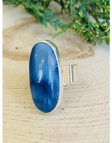 Large Oval Blue Opal Sterling Ring Adj