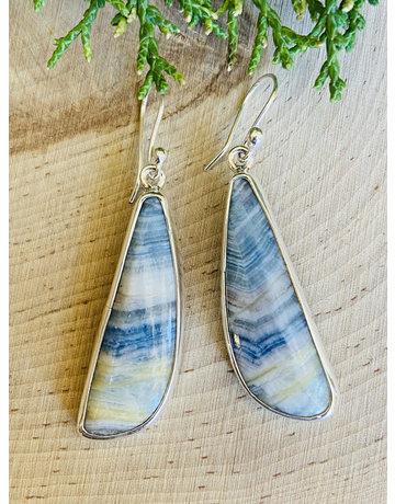 Blue Scheelite Long Drop Sterling Earrings