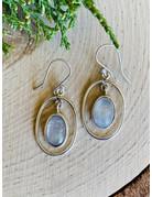 Oval Moonstone in Sterling Loop Earrings