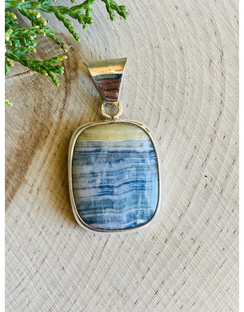 Rectangular Blue Scheelite Sterling Pendant