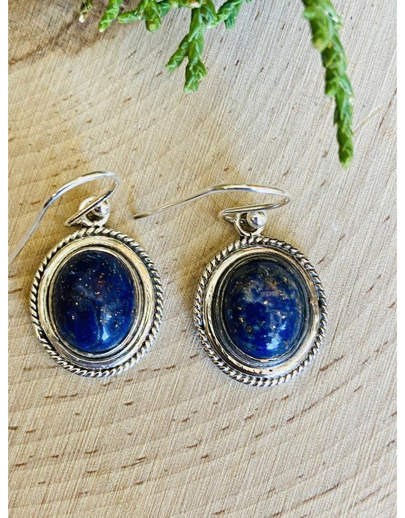 Lapis Lazuli Sterling Rope Bezel Drop Earrings