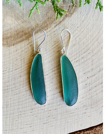 Long Sea Green Beach Glass Sterling Earrings