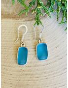 Small Aqua Rectangle Sterling Beach Glass Earring