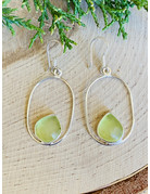 Sterling Oval with Beach Glass Earrings