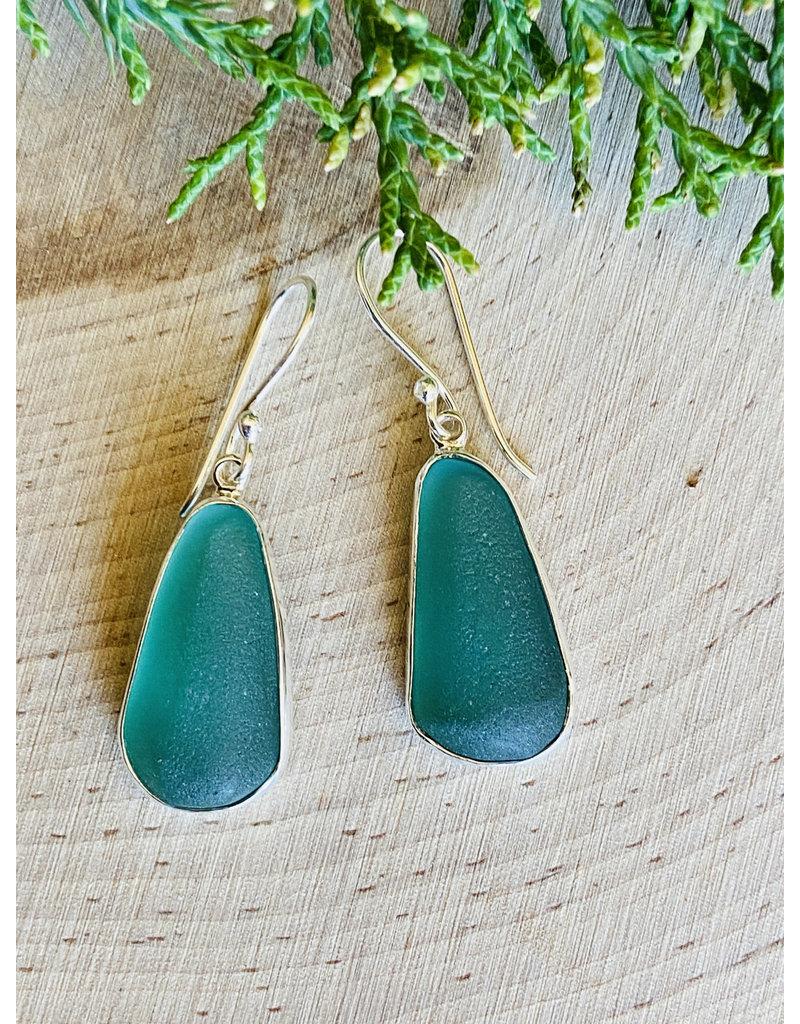 Sea Green Drop Beach Glass Sterling Earrings
