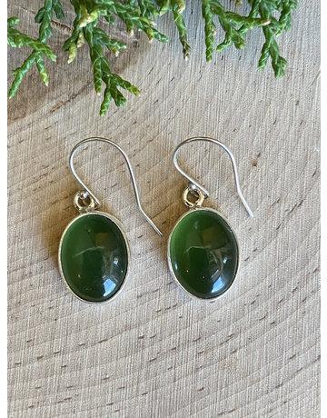Jade Green Oval Beach Glass Sterling Earrings
