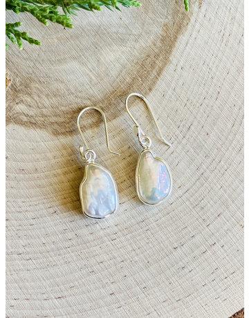 Biwa Pearl Sterling Drop Earrings