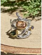Tourmaline & Tanzanite Sterling Branch Ring Sz 8