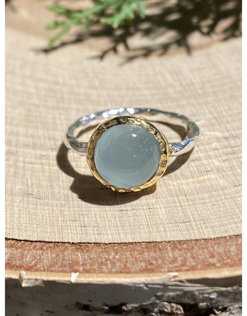 Round Aquamarine Sterling Ring with GF Bezel Sz 8