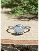 Oval Aquamarine Hammered Sterling Ring Sz 8