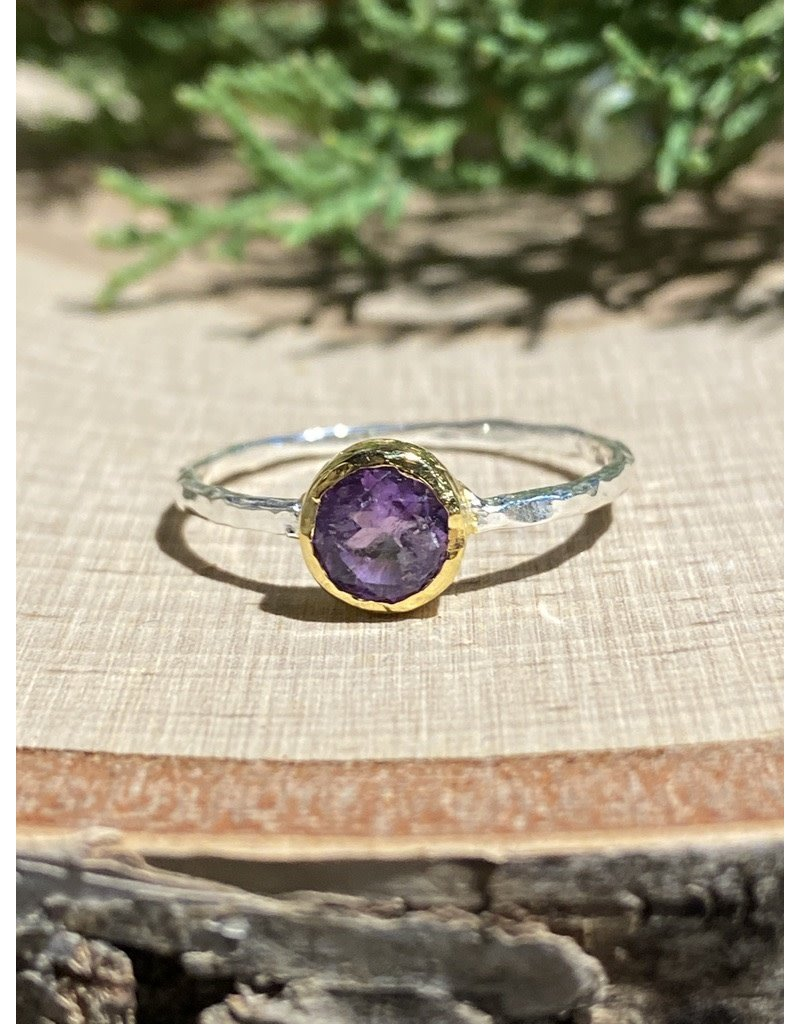 Round Amethyst Sterling Ring with GF Bezel Sz 9