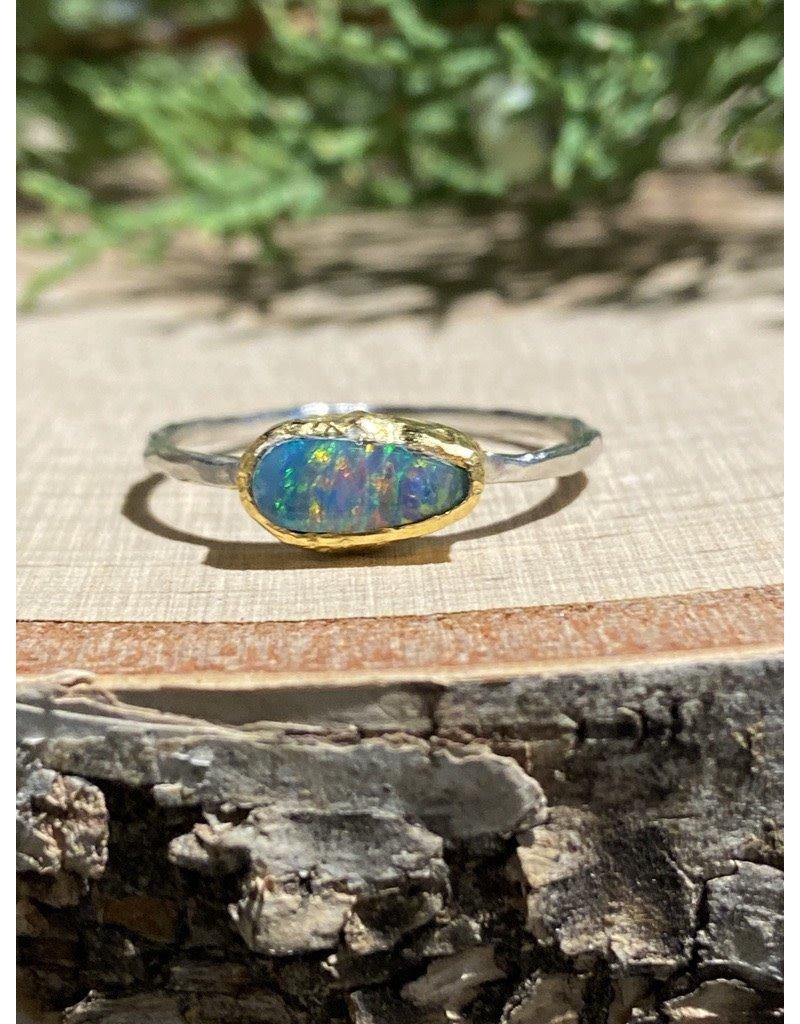 Long Oval Australian Opal Sterling Ring with GF Bezel