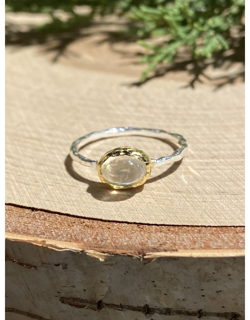 Oval Moonstone Sterling Ring with GF Bezel