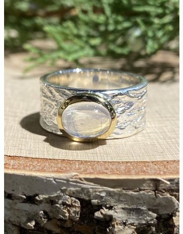 Sterling Textured Ring with GF Bezel & Moonstone Sz 8
