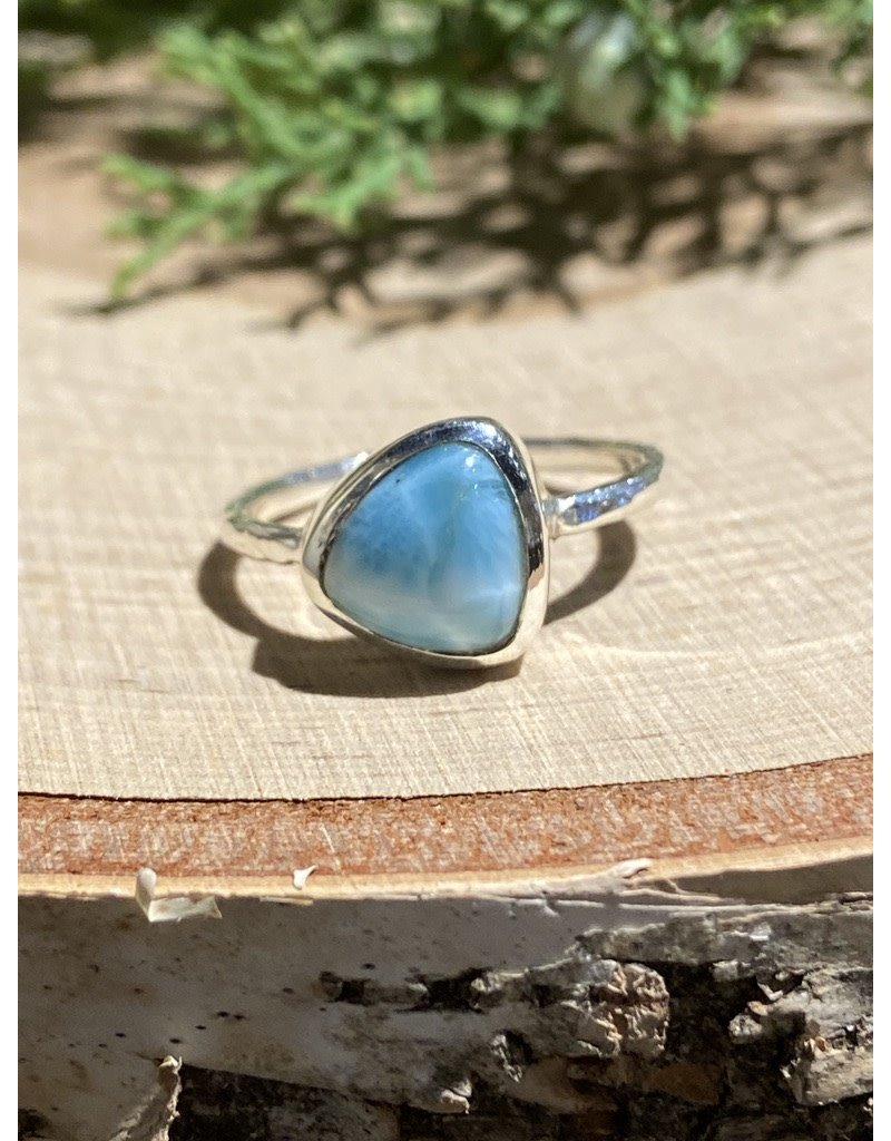 Triangle Larimar Sterling Ring with Textured Band Sz 8