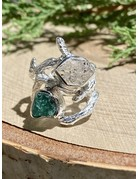 Herkimer Diamond and Emerald Sterling Branch Ring Sz 8