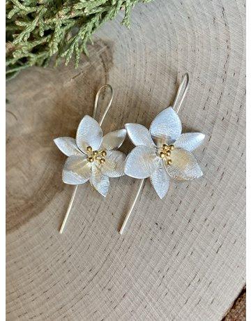 Two Tone Lotus Earrings