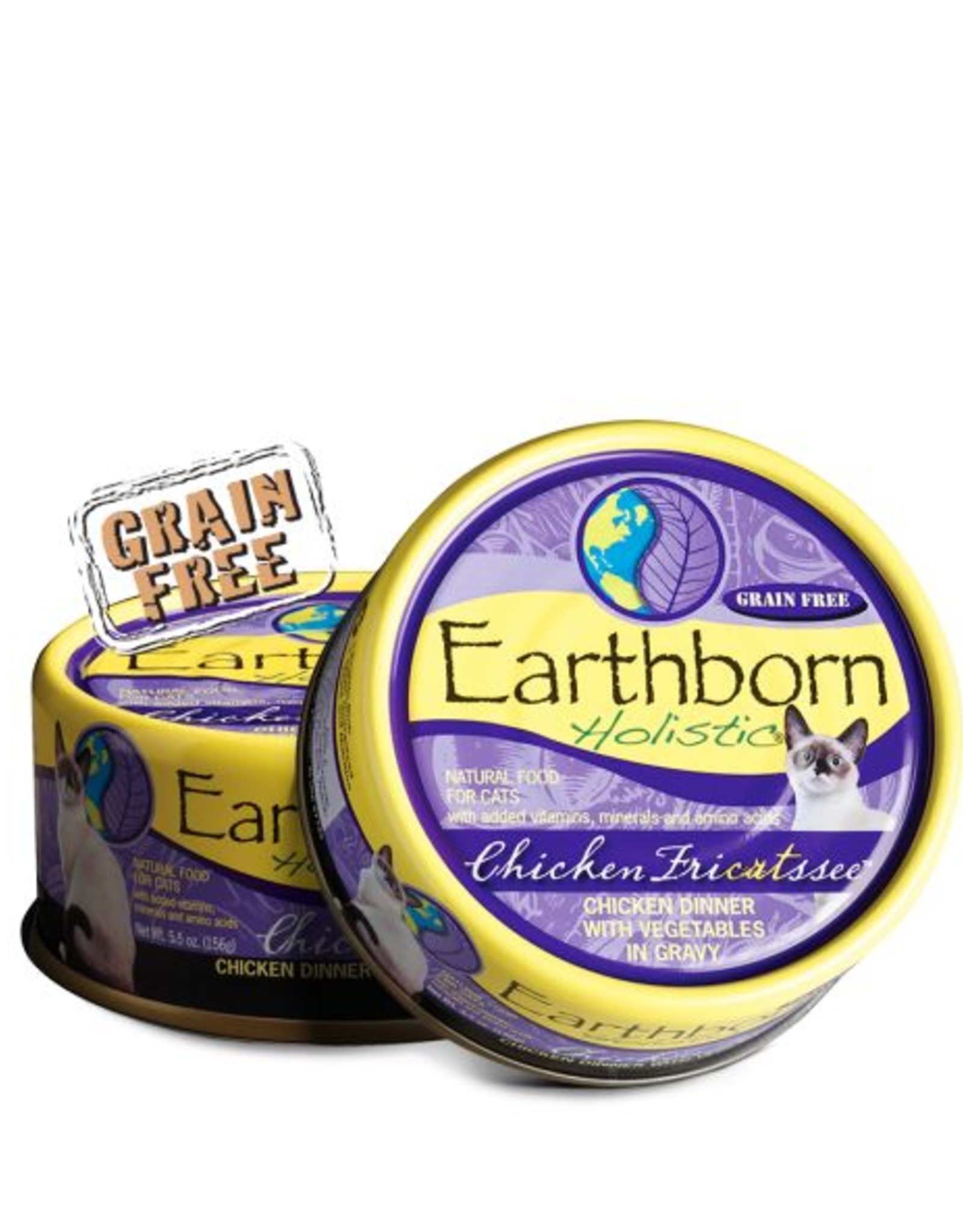 Earthborn Chicken Fricatssee Grain-Free Natural Adult Canned Cat Food, 5.5 oz.