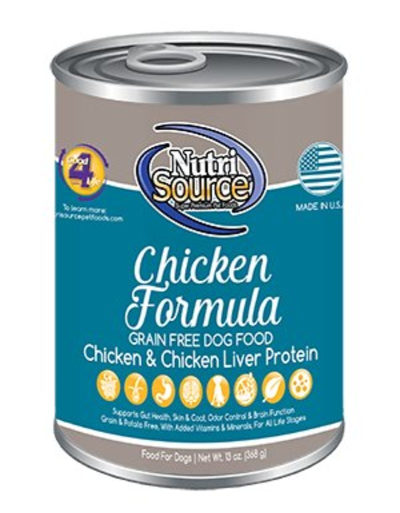 Nutri Source Grain Free Chicken Formula Canned Dog Food, 13 oz.