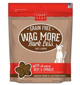 Cloud Star Wag More Bark Less Grain-Free Soft & Chewy with Beef & Spinach Dog Treats, 5 oz.
