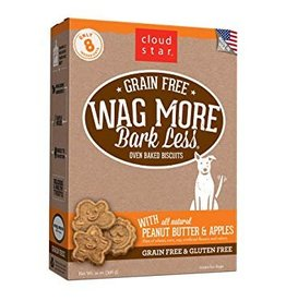 Cloud Star Wag More Bark Less Grain-Free Oven Baked Biscuits with Peanut Butter & Apples Dog Treats, 14 oz.