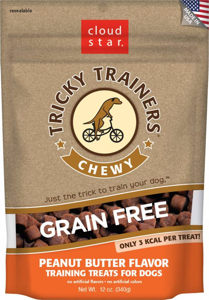 Cloud Star Grain-Free Chewy Tricky Trainers Peanut Butter Flavor Dog Treats, 5 oz.