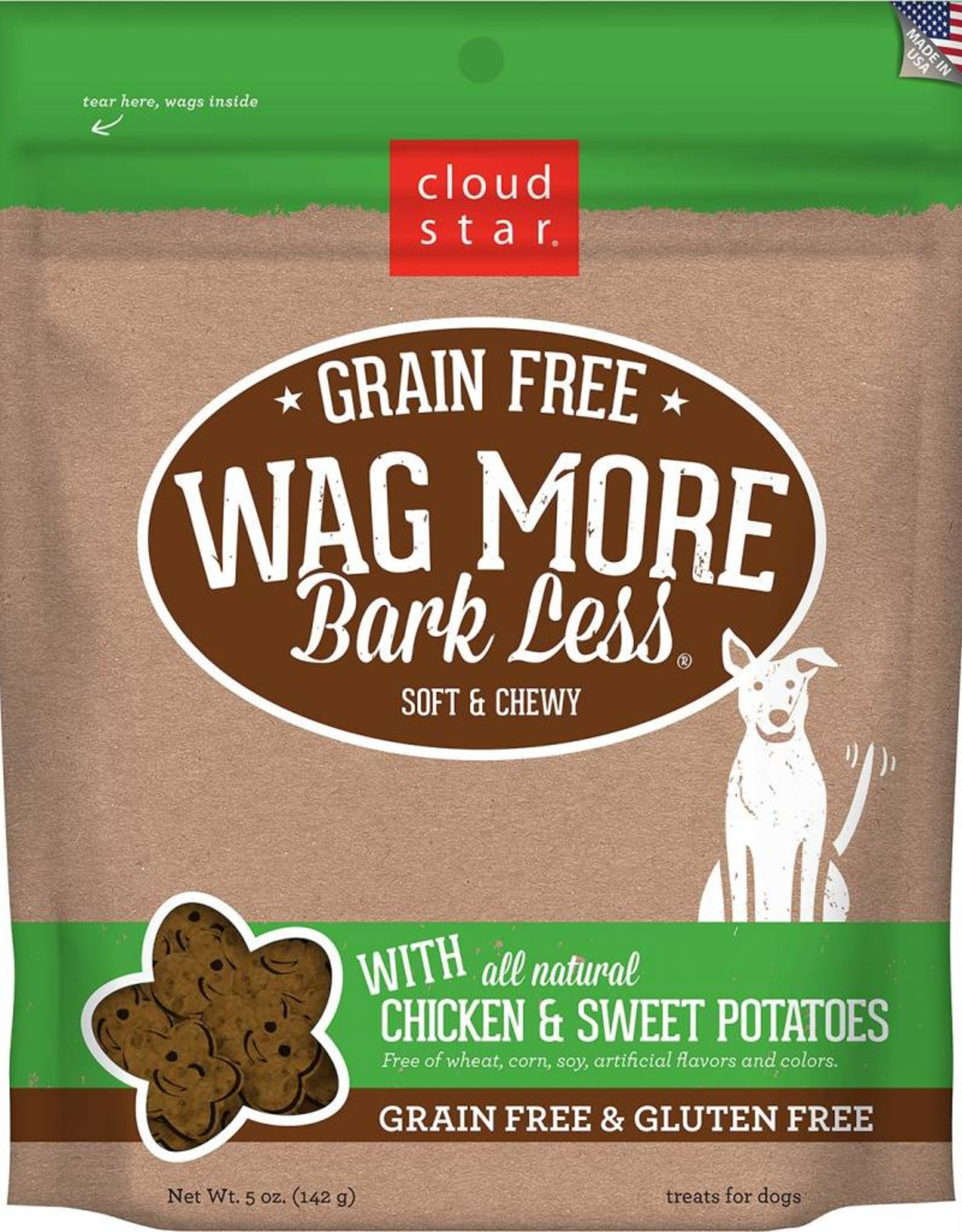 Cloud Star Wag More Bark Less Grain-Free Soft & Chewy with Chicken & Sweet Potatoes Dog Treats, 5 oz.