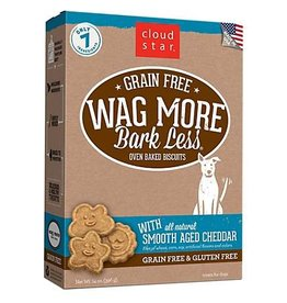 Cloud Star Wag More Bark Less Grain-Free Oven Baked Biscuits with Aged Cheddar Dog Treats, 14 oz.