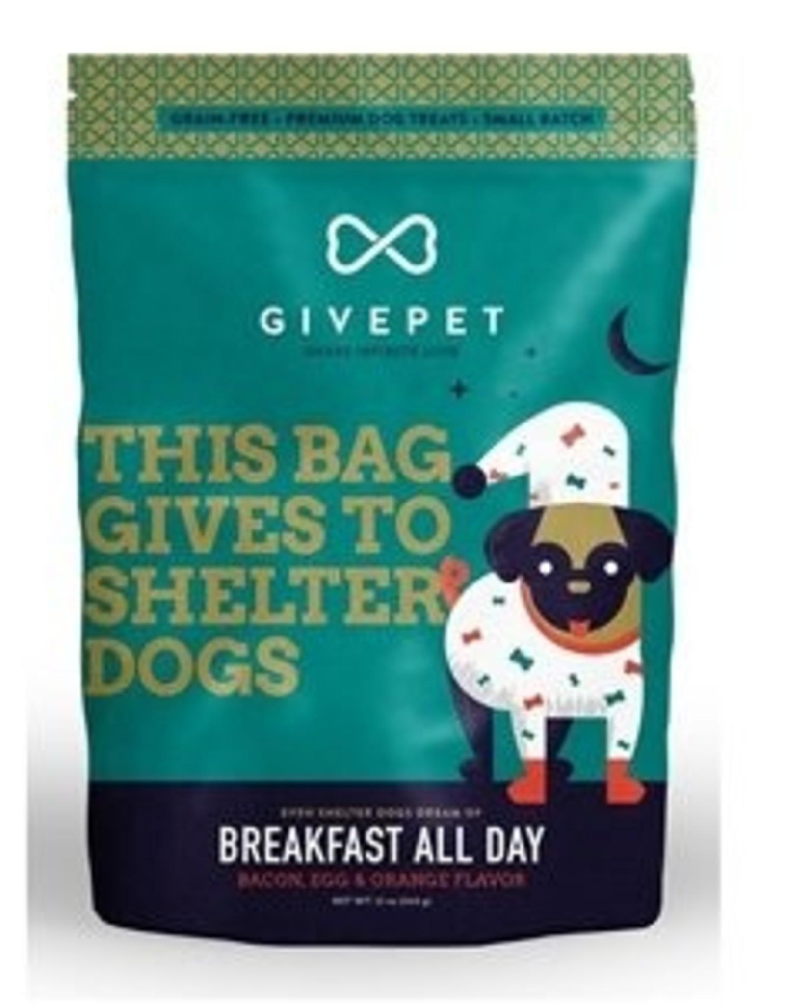Give Pet Breakfast All Day Bacon, Egg & Orange Flavor Dog Treats, 12 oz.