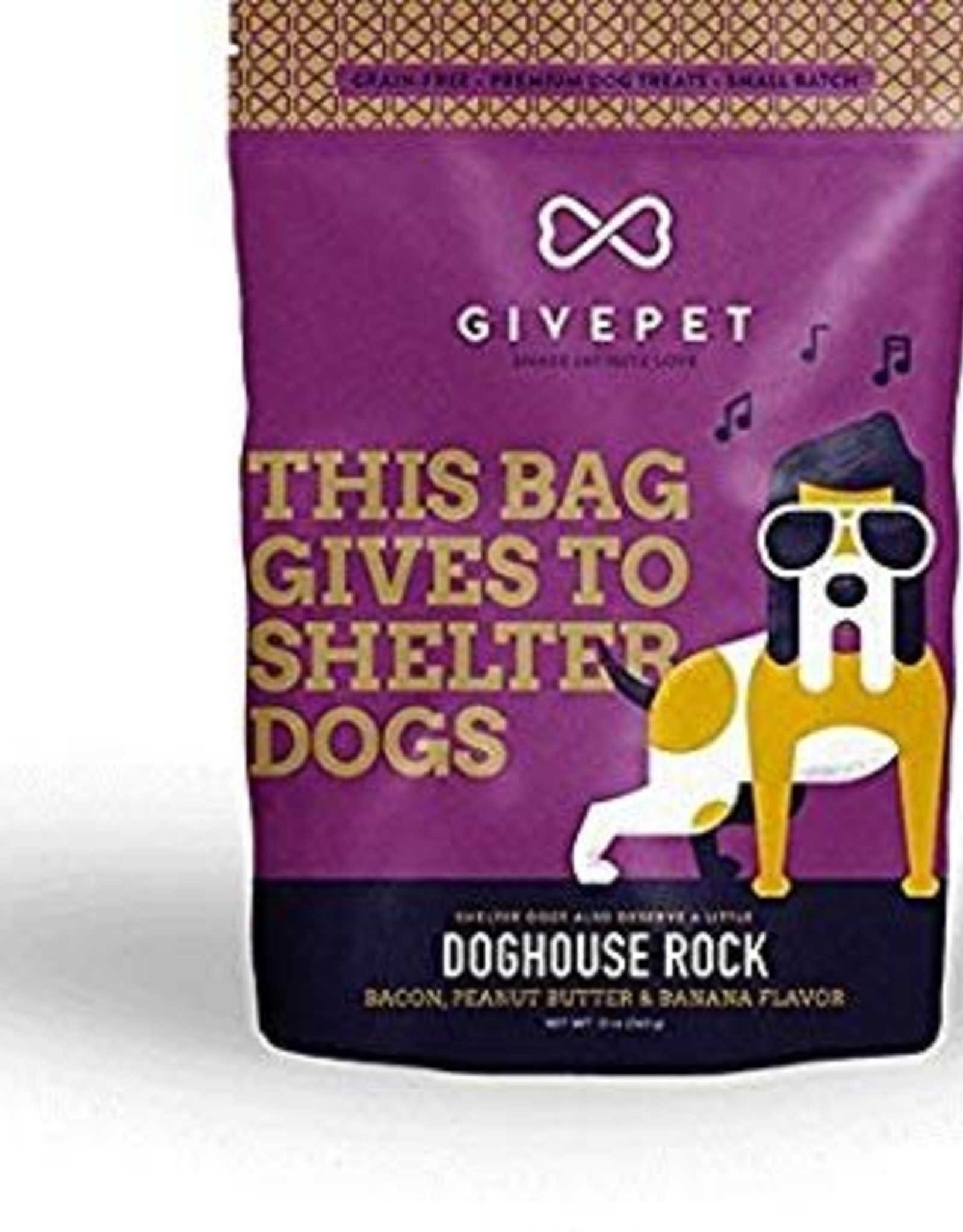 Give Pet Doghouse Rock Bacon, Banana & Peanut Butter Flavor Dog Treats, 12 oz.