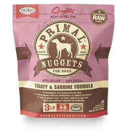 Primal Raw Frozen Canine Turkey & Sardines Formula, 3 lb. nuggets