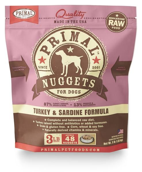 Primal Raw Frozen Canine Turkey & Sardines Formula, 3 lb. nuggets