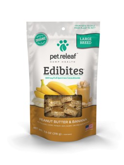 Pet Releaf Peanut Butter & Banana Edibites Large Breed, 30 pieces