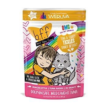 Weruva BFF OMG Tuna & Turkey Tickles Cat Food Pouch, 3 oz.