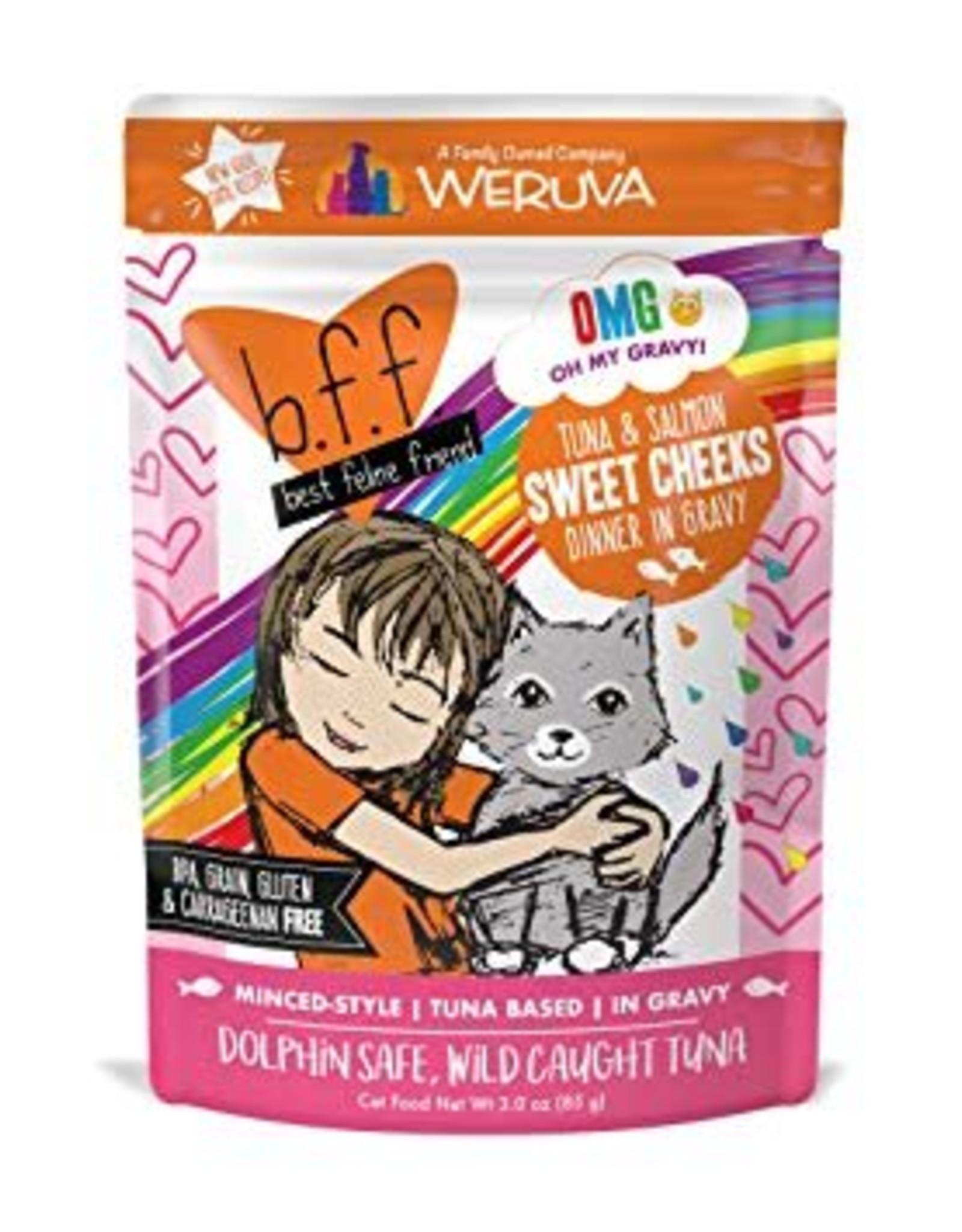 Weruva BFF OMG Tuna & Salmon Sweet Cheeks Cat Food Pouch, 3 oz.