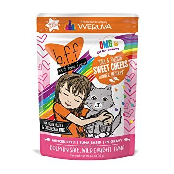 Weruva BFF OMG Tuna & Salmon Sweet Cheeks Cat Food Pouch, 3 oz.
