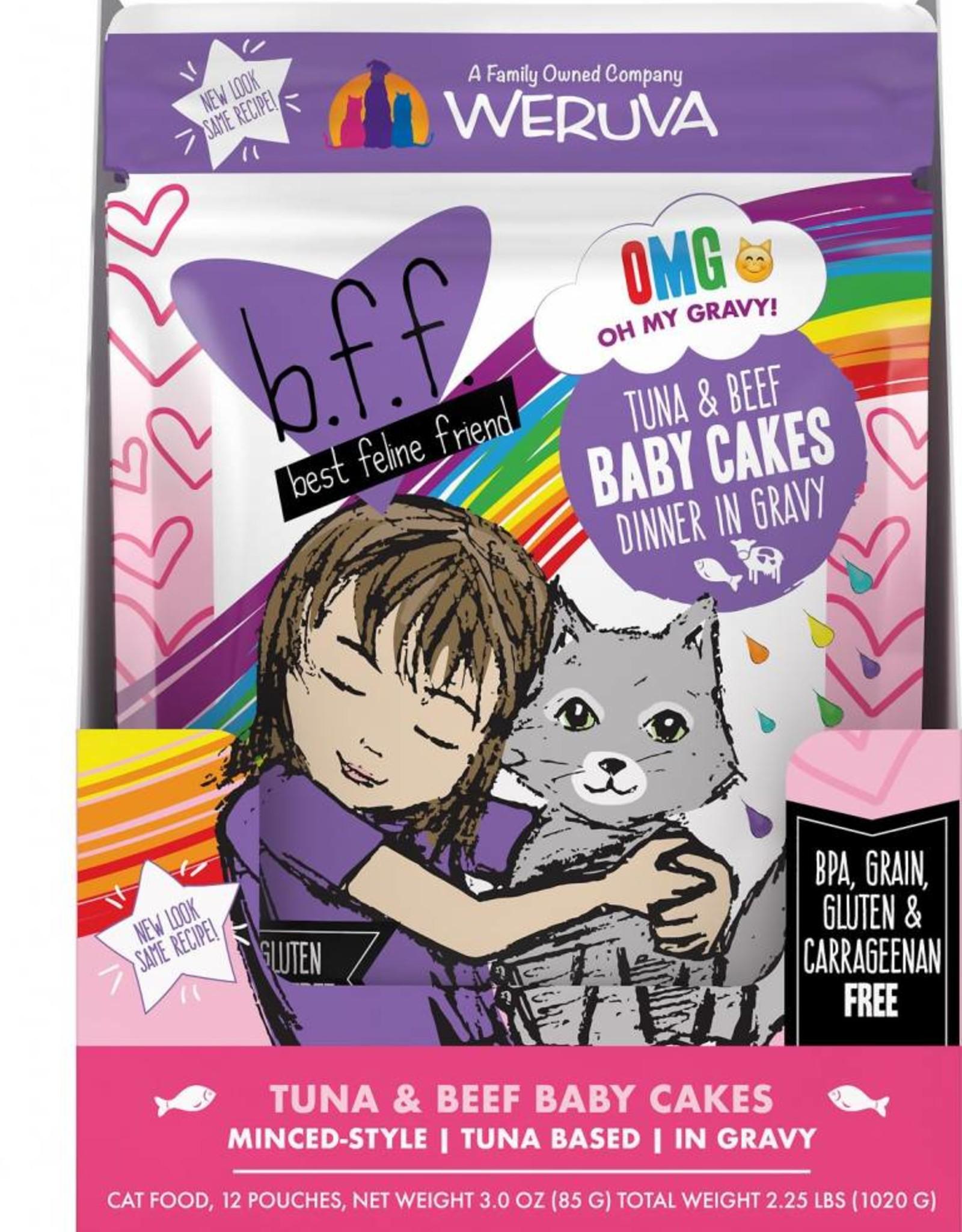 Weruva BFF OMG Tuna & Beef Baby Cakes Cat Food Pouch, 3 oz.