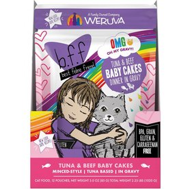Weruva BFF OMG Tuna & Beef Baby Cakes Cat Food Pouch, 3 oz.