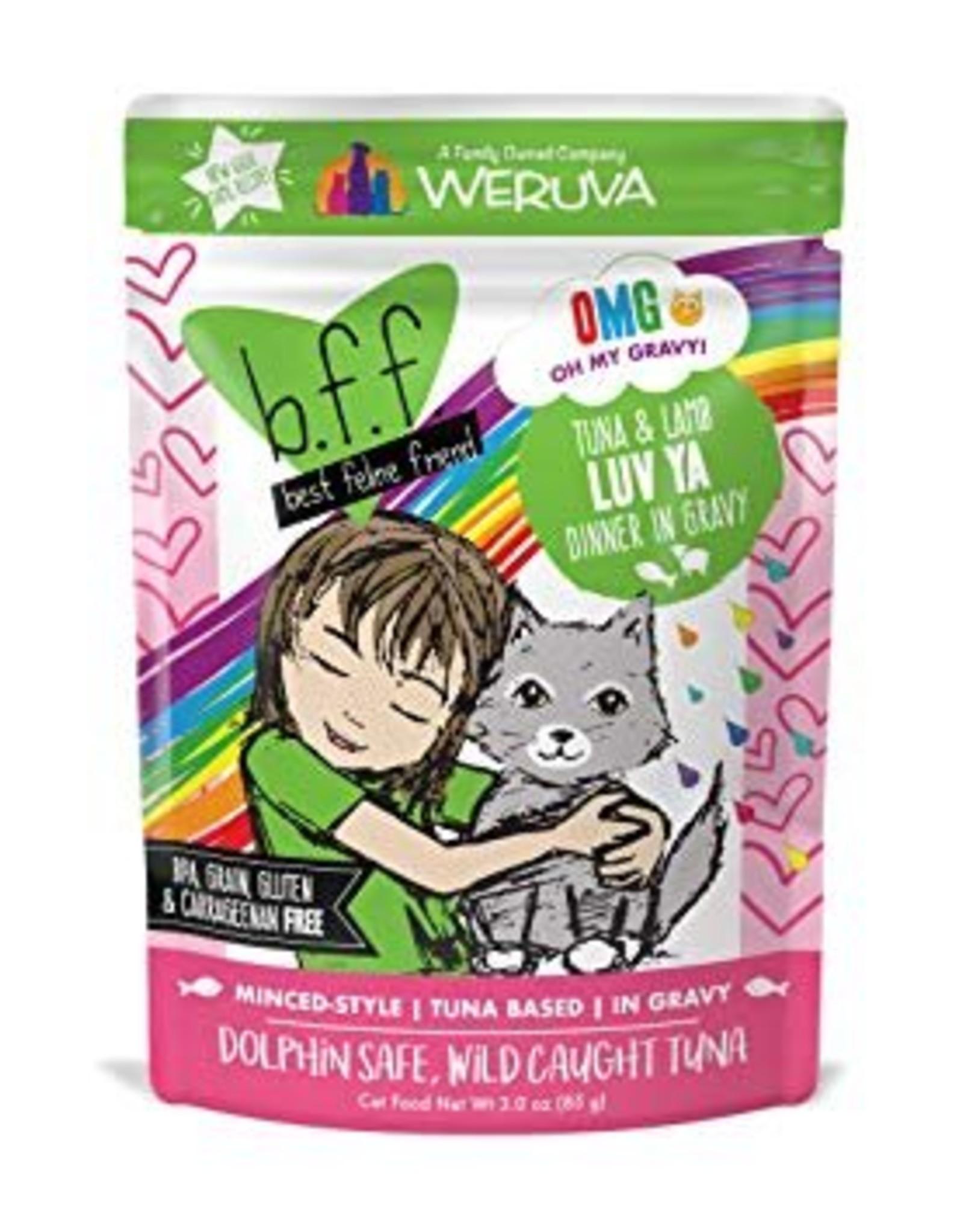 Weruva BFF OMG Tuna & Lamb Luv Ya Cat Food Pouch, 3 oz.