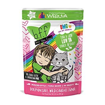 Weruva BFF OMG Tuna & Lamb Luv Ya Cat Food Pouch, 3 oz.