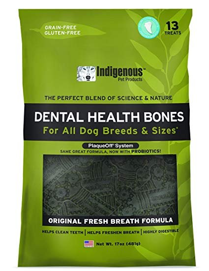 Indigenous Pet Products Dental Health Bones Original Fresh Breath Flavor