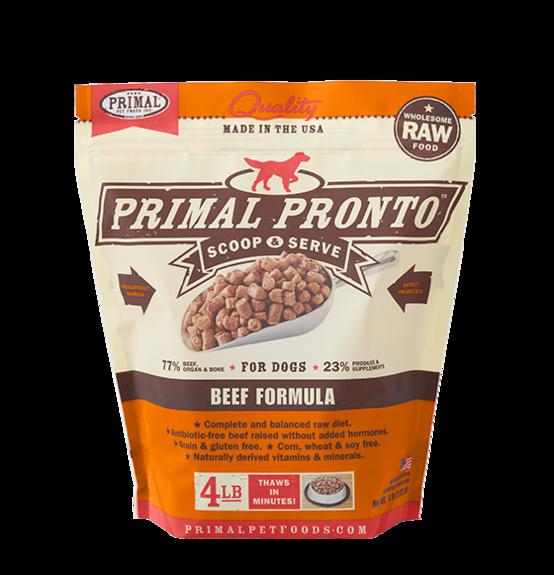 Primal Pronto Raw Frozen Canine Beef Formula, 4 lb.