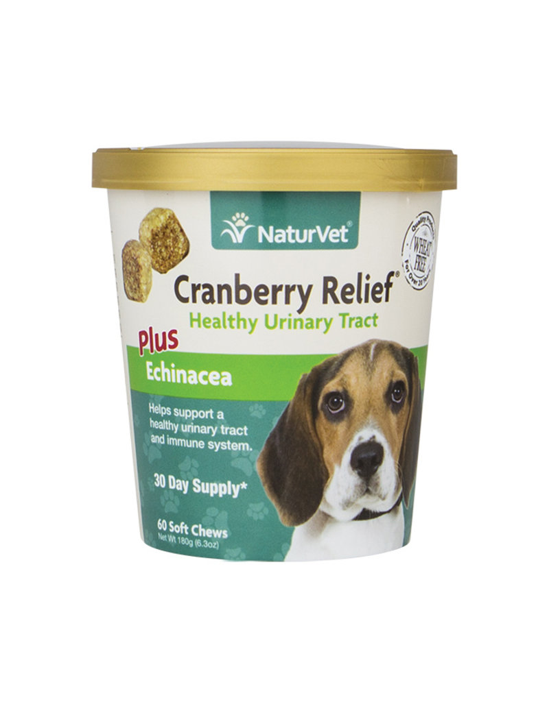 NaturVet Cranberry Relief Plus Echinacea Soft Chews for Dogs, 60 count