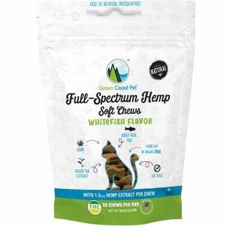 Green Coast Pet Whitefish Full-Spectrum Hemp Soft Chews for Cats, 30 chews
