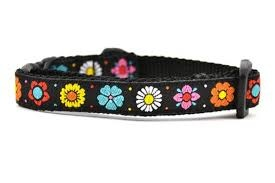 Six Point Pet Black Daisy Chain Cat Collar